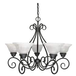 Buy alabaster chandeliers online at overstock our best castillo five light indoor chandelier with textured black finish and alabaster swirl glass aloadofball Image collections