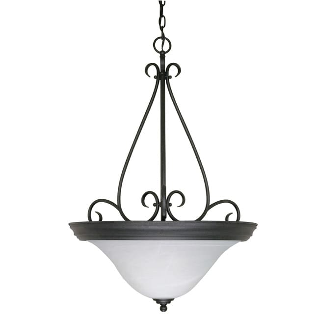 Castillo - 3 Light Pendant - Textured Black Finish with Alabaster Swirl Glass