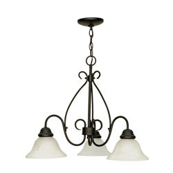 Castillo - 3 Light Chandelier - Textured Black Finish with Alabaster Swirl Glass