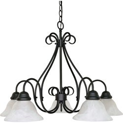 Castillo - 5 Light Chandelier - Textured Black Finish with Alabaster Swirl Glass