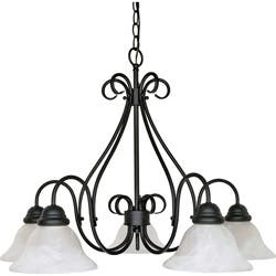 Buy alabaster chandeliers online at overstock our best castillo 5 light chandelier textured black finish with alabaster swirl glass aloadofball Image collections