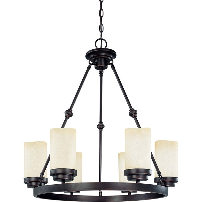 Lucern - 6 Light Chandelier - Patina Bronze Finish with Saddle Stone Glass