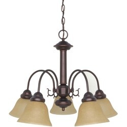 Ballerina - 5 Light Chandelier - Mahogany Bronze Finish with Champagne Washed Linen Glass