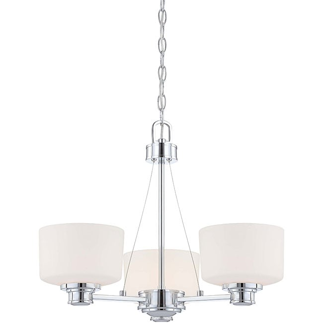 Soho 3 light chandelier polished chrome finish with satin white soho 3 light chandelier polished chrome finish with satin white glass aloadofball Image collections