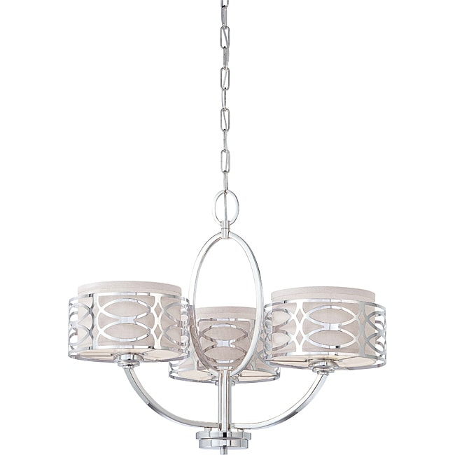 Harlow - 3 Light Chandelier - Polished Nickel Finish with Slate Gray Fabric Shade - Thumbnail 0