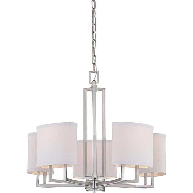 Gemini Brushed Nickel 5-light Chandelier - Thumbnail 0