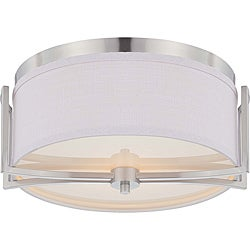 Gemini Brushed Nickel 2-light Flush Mount Fixture