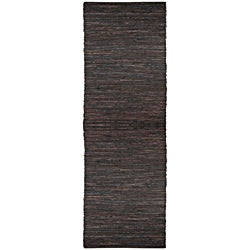 Hand Woven Matador Brown Leather Runner 2' 6 x 12'