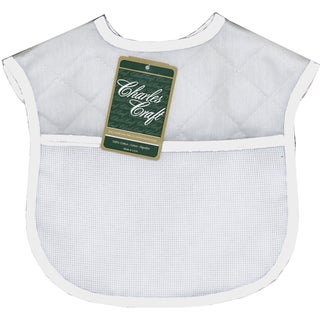 """Quilted Baby Bibs 9""""X9""""-White With Solid White Trim"""