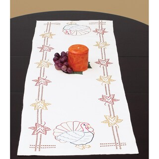 """Stamped Table Runner/Scarf 15""""X42""""-Thanksgiving"""