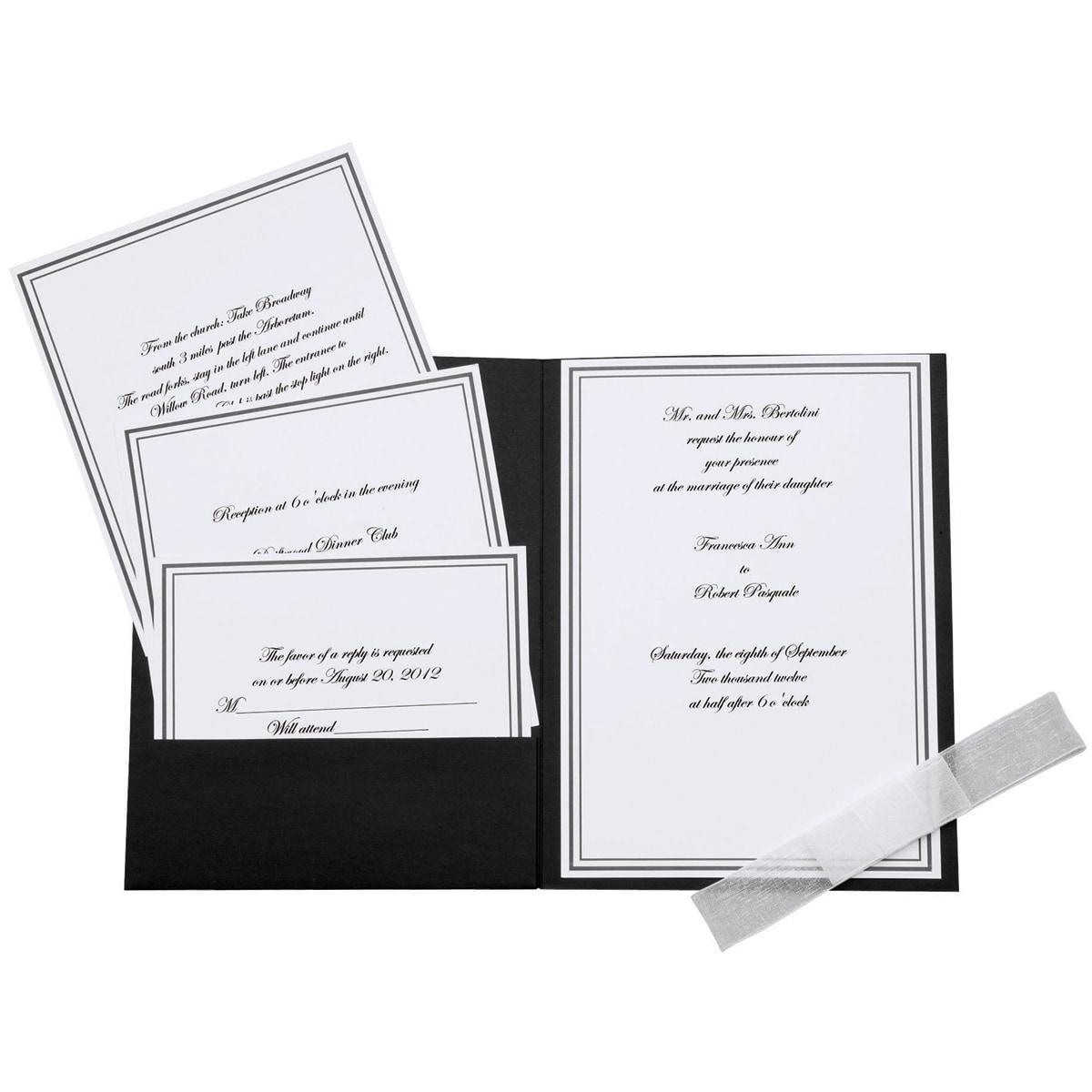 Elegance Invitation Kit 25/Pkg-Black/White