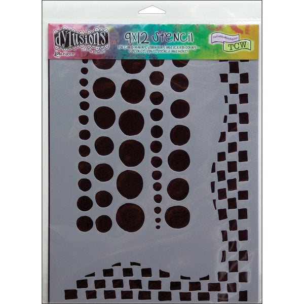 """Dyan Reaveley's Dylusions Stencils 9""""X12""""-Chequered Dots"""