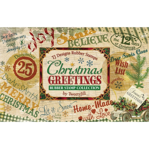 Rubber Stamp Set-Christmas Greetings