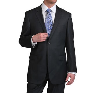 Prontomoda Europa Men's Super 140 Charcoal Wool Suit