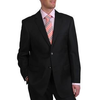 Men's Black Wool 2-button Suit - Free Shipping Today - Overstock