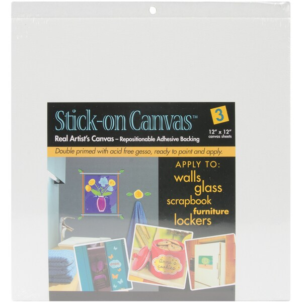 "Stick On Artist Canvas 3/Pkg-12""X12"""