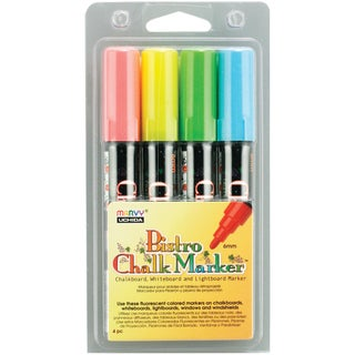 Bistro Chalk Marker Set 4/Pkg-Fluorescent Blue/Red/Green/Yellow