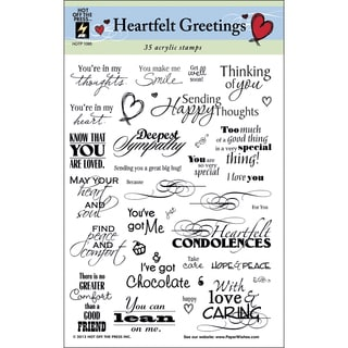 """Hot Off The Press Acrylic Stamps 6""""X8"""" Sheet-Heartfelt Greetings"""