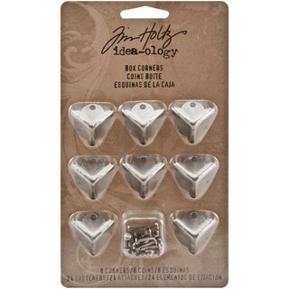 Tim Holtz Idea-Ology Metal Box Corners With Fasteners-8 Corners/24 Fasteners