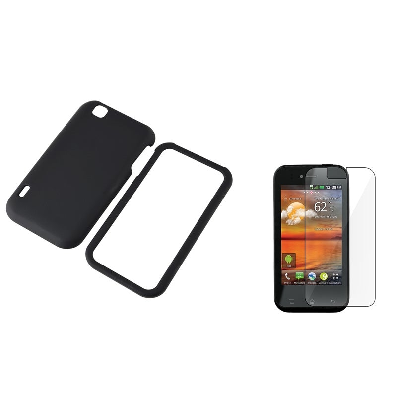 Black Rubber Case/ Screen Protector for LG MyTouch