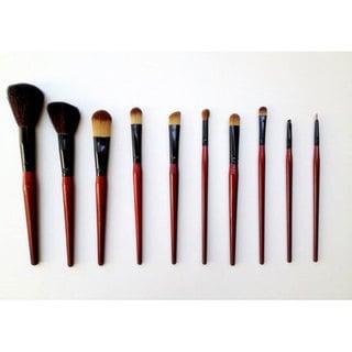 Fortuna 10-piece Red Pony, Goat & Talkon Hair Makeup Brush Set