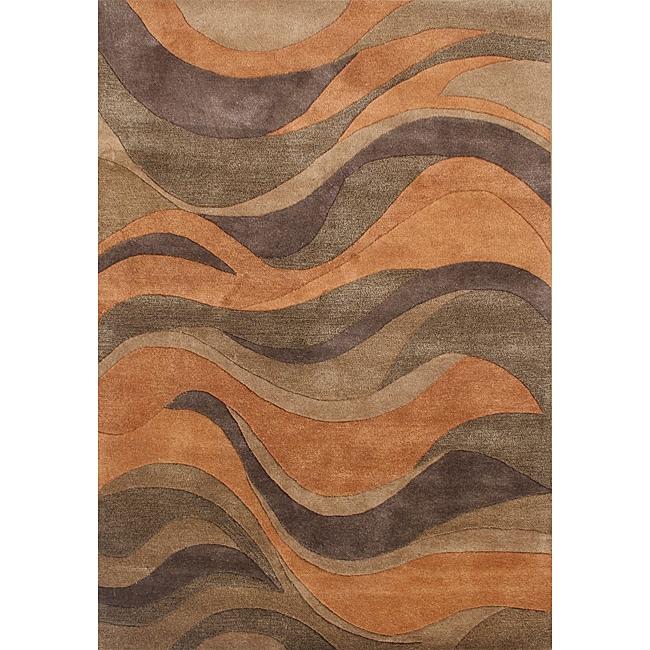 Alliyah Handmade Caramel, Autumn Leaf, Chipmunk, Brown, and Rust New Zealand Blend Wool Rug (5' x 8')