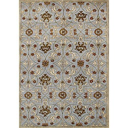 Alliyah Handmade Pearl Blue New Zealand Blend Wool Rug (5' x 8')