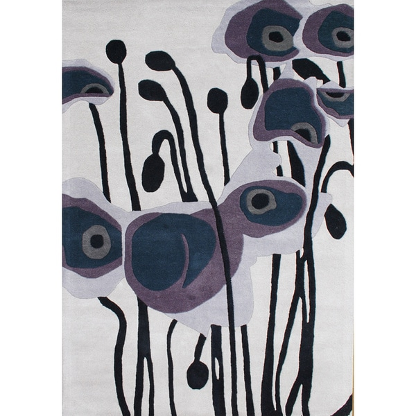 Alliyah Handmade Pencil Grey New Zealand Blend Wool Rug (9' x 12')