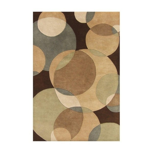 Alliyah Handmade Brown and Circles New Zealand Blend Wool Rug (9' x 12') - 9' x 12'
