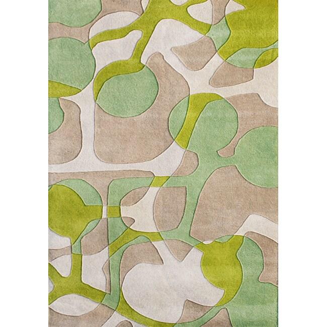 Alliyah Handmade Lime Green New Zealand Blend Wool Rug (9' x 12')