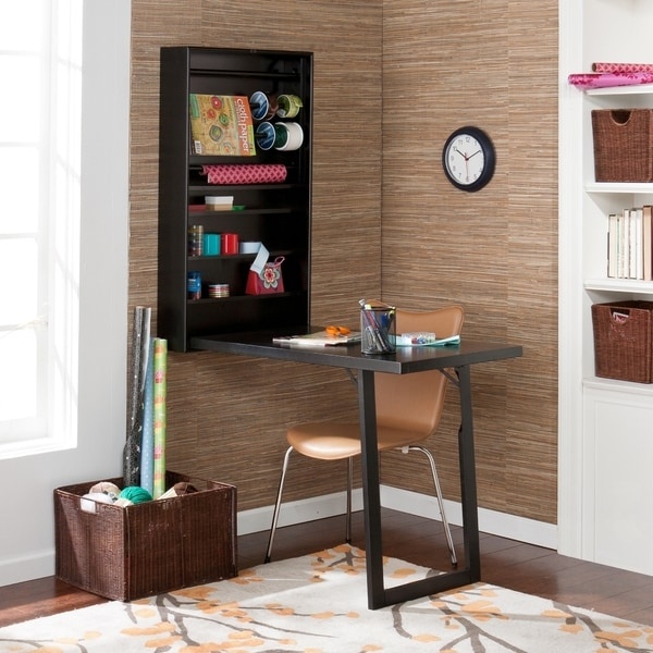 Murphy black wall mount fold out craft desk with shelves for Fold up craft table