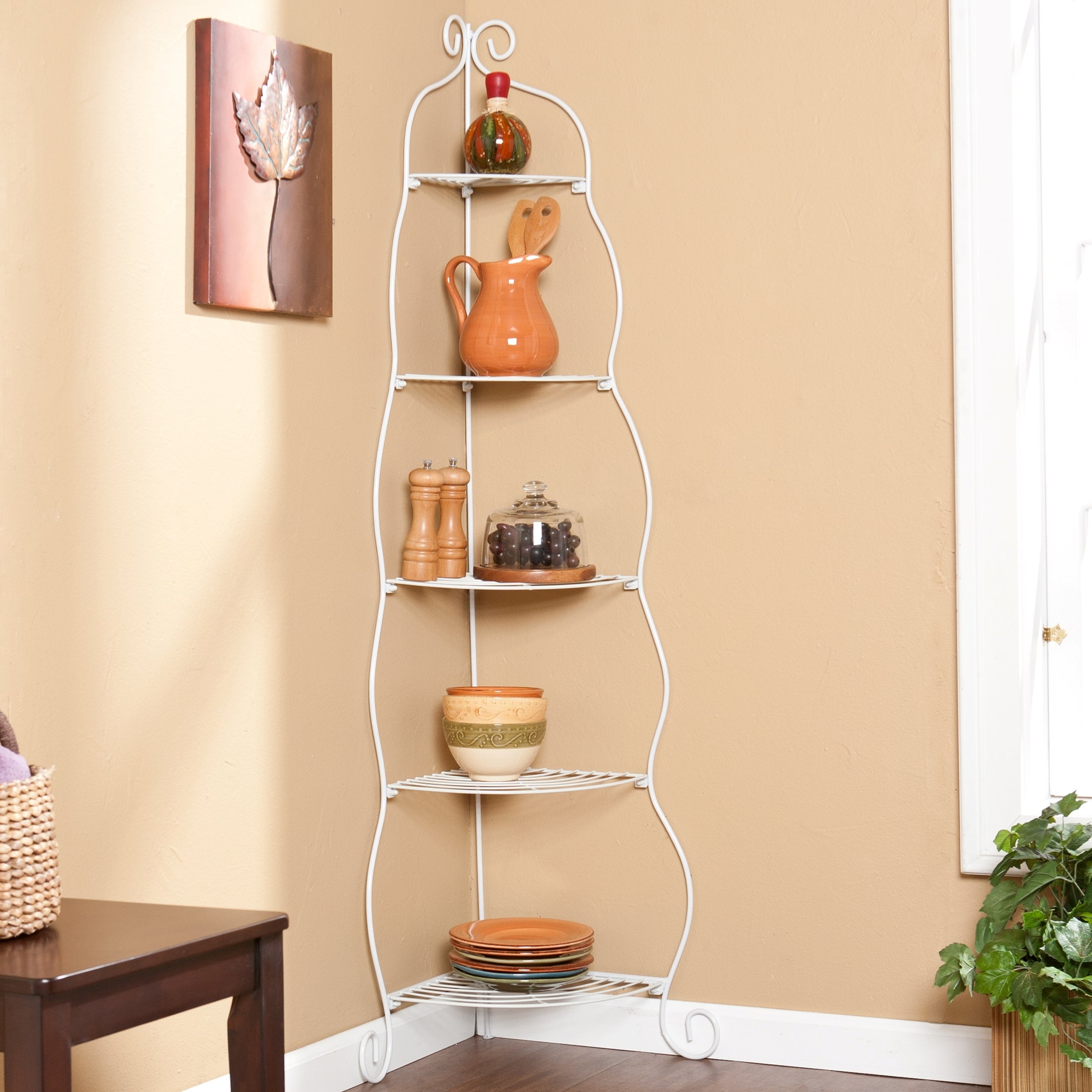 Upton Home Scrolled White 5-tier Corner Etagere
