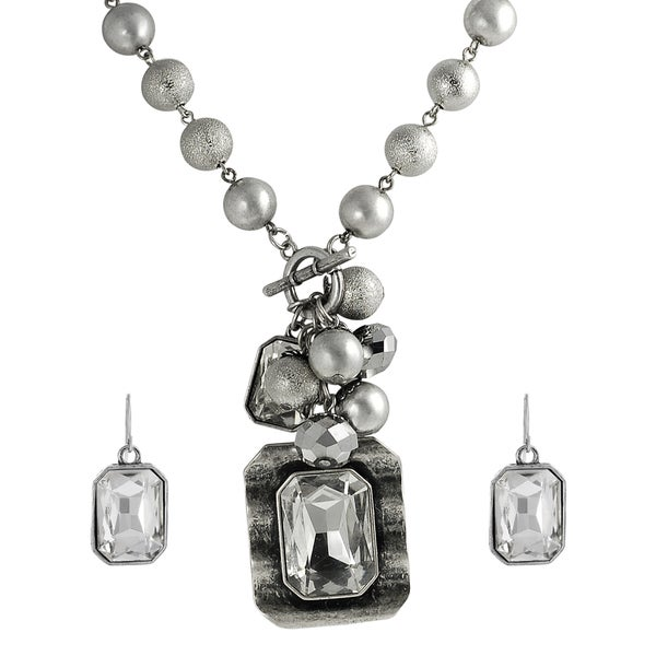 Journee Collection Silvertone Crystal Necklace/ Earring Set