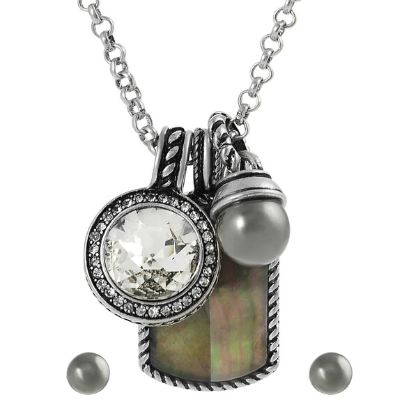 Journee Collection Silvertone Multi-stone Necklace/ Earring Set