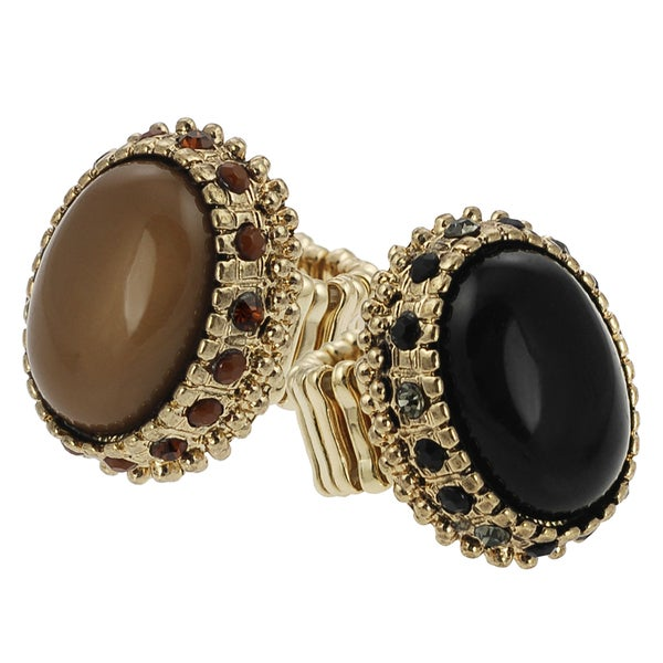 Journee Collection Goldtone Vintage Acrylic Rhinestone Stretch Ring