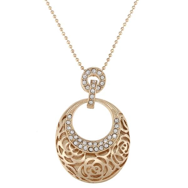 Alexa Starr Goldtone Rose Design Oval Necklace