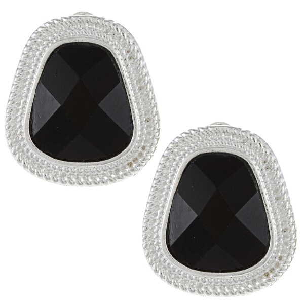 Alexa Starr Silvertone Faceted Black Glass Clip-on Earrings