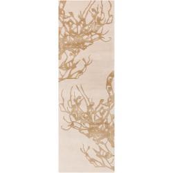 Hand-tufted Orange Cane Contemporary Botanical Rug Rug (2'6 x 8')