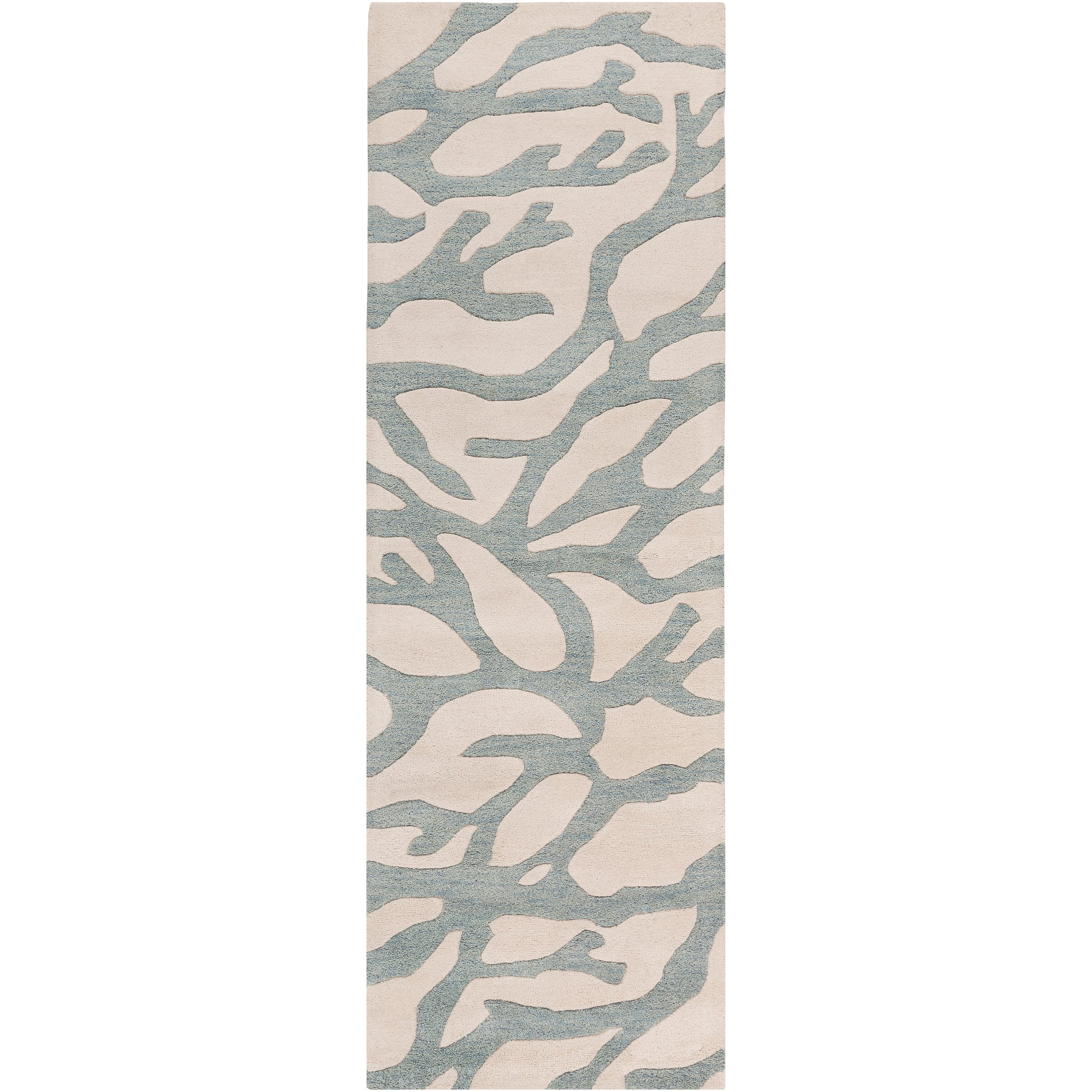 Hand-Tufted Bacelot Bay Blue Beach Inspired Abstract Wool Rug (2'6 x 8')