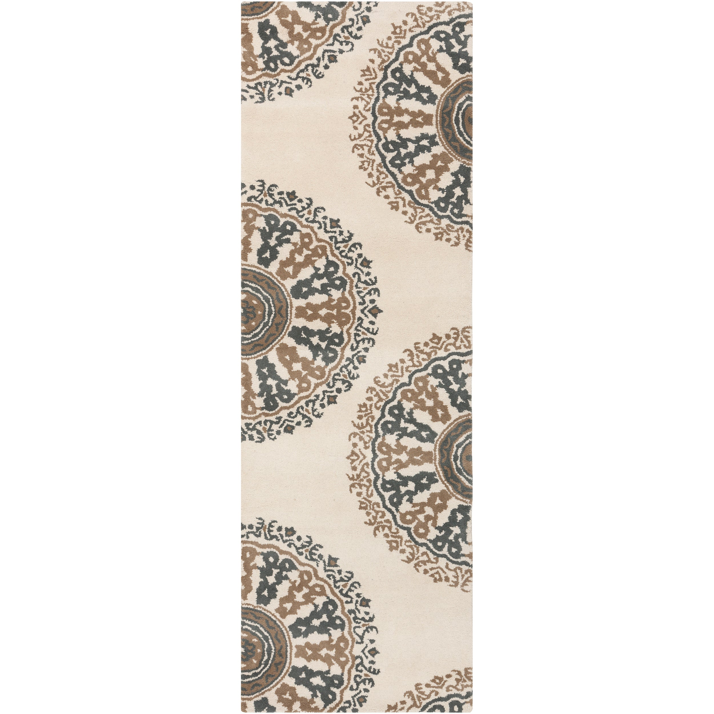 Hand-tufted Ivory New York Ave Geometric Medallion Wool Rug (2'6 x 8')