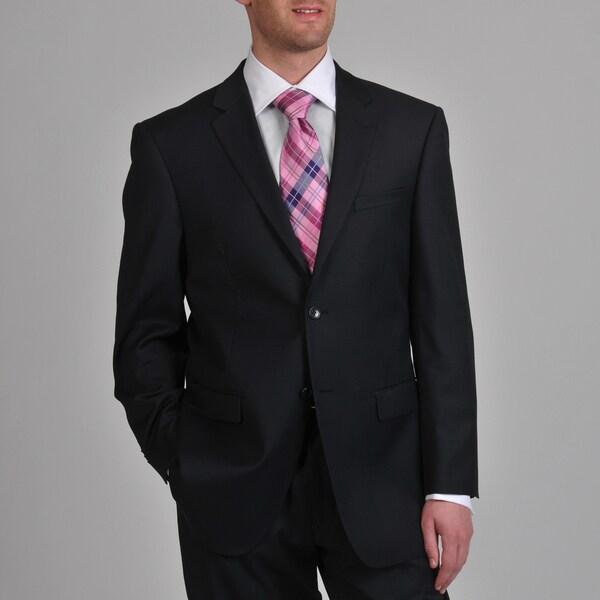 Prontomoda Europa Men's 'Super 140' Navy Wool Suit