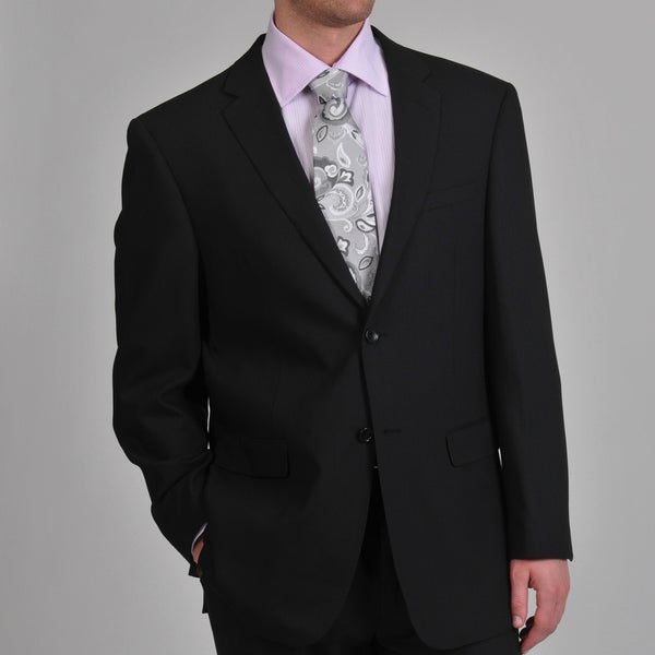 Montefino Mondo Men's 'Super 120 Merino' Black Wool Suit