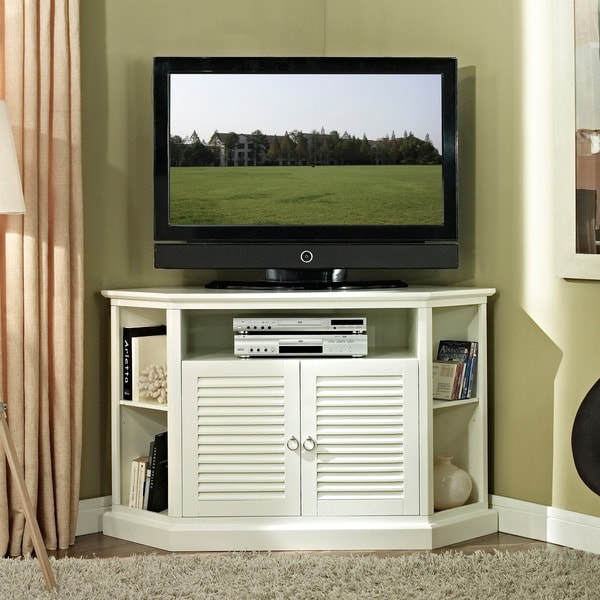 52 in white wood corner tv stand free shipping today 14324973. Black Bedroom Furniture Sets. Home Design Ideas