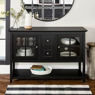 black 52 inch wood console table buffet na - Black Sideboard Buffet