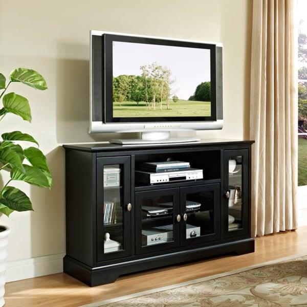 black 52 inch highboy style wood tv stand 14324976. Black Bedroom Furniture Sets. Home Design Ideas