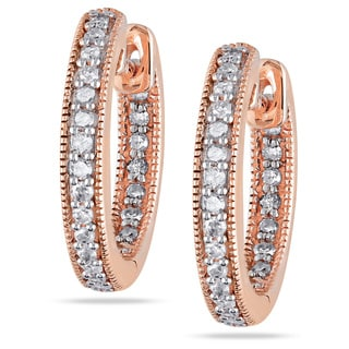 Miadora 14k Pink Gold 1/4 CT TDW Diamond Hoop Earrings (G-H, I1-I2)