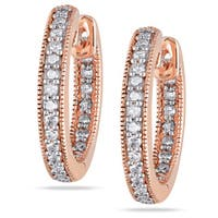 Miadora 14k Pink Gold 1/4 CT TDW Diamond Hoop Earrings