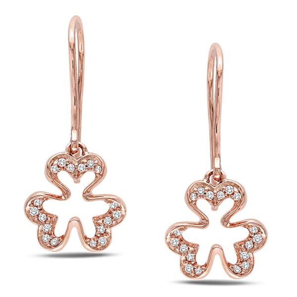 Miadora  10k Pink Gold 1/10 CT TDW Diamond Charm Earrings (H-I, I2-I3)