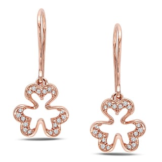 Miadora 10k Pink Gold 1/10 CT TDW Diamond Charm Earrings (H-I, I2-I3)