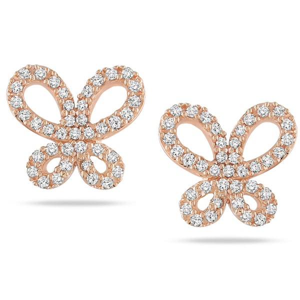 Miadora 10k Rose Gold 1/4 CT TDW Diamond Butterfly Earrings